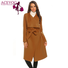 ACEVOG Autumn Classic Belted Woolen Coat Women Vintage Fashion Wrap Open Front Long Sleeve Trench Jacket
