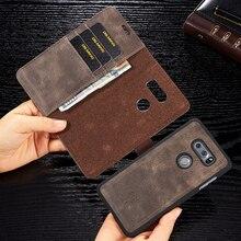 Retro Cowhide Leather Case For LG V20 G6 V30 V30 plus V30+ Magnetic Back Phone Case Card Slot Flip Wallet Cover for LG G7 ThinQ