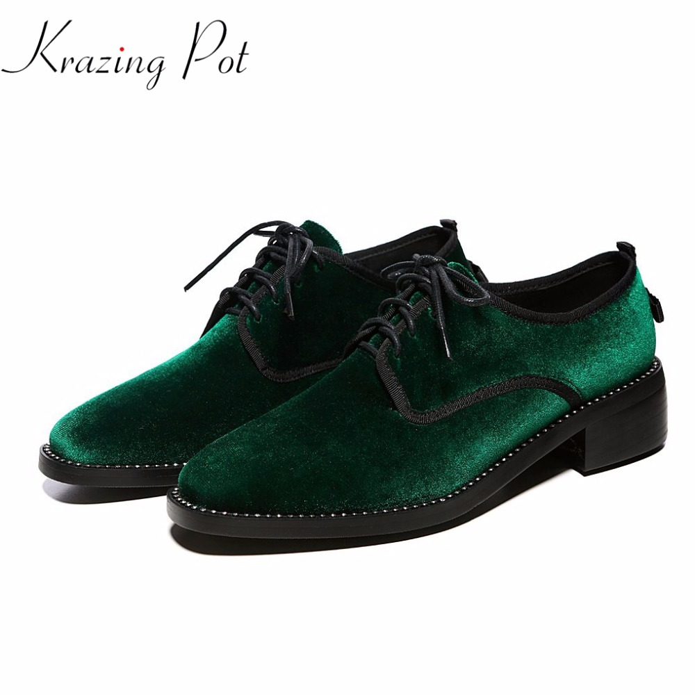Fashion new brand shoes velvet crystal beading thick low heel fur women pumps round toe British school lace up causal shoes L0f2 bonjomarisa new arrivals 2016 solid plain round toe lace up sporting thick platform pumps women fashion cassual shoes women