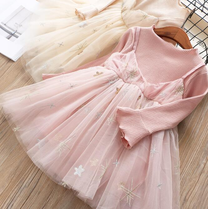 baby girl dress 2019 girls fashion new spring star embroidery tulle long sleeve party tutu dress children dress kids clothes2-6Y