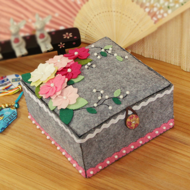 Fabuleux Sakura Stile Grigio Feltro Tessuto Scatola di Immagazzinaggio  EV93