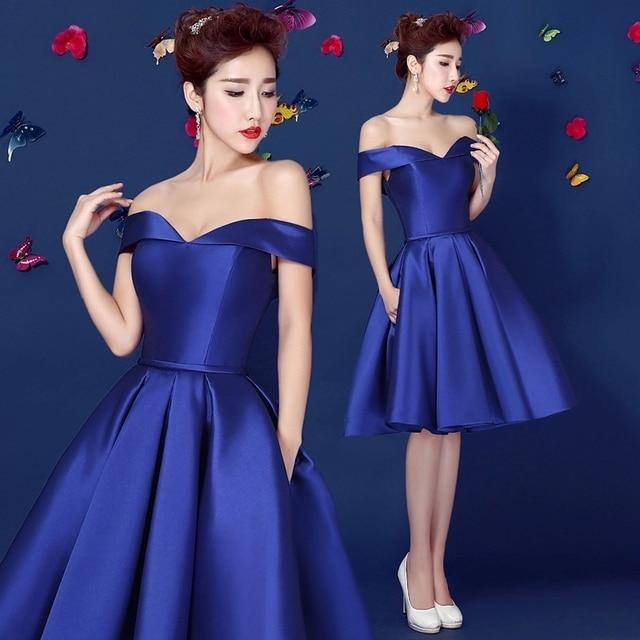 66e881d538 Royal Azul Fuera Del Hombro vestido de Fiesta Vestido de Fiesta de Tafetán  Longitud de La