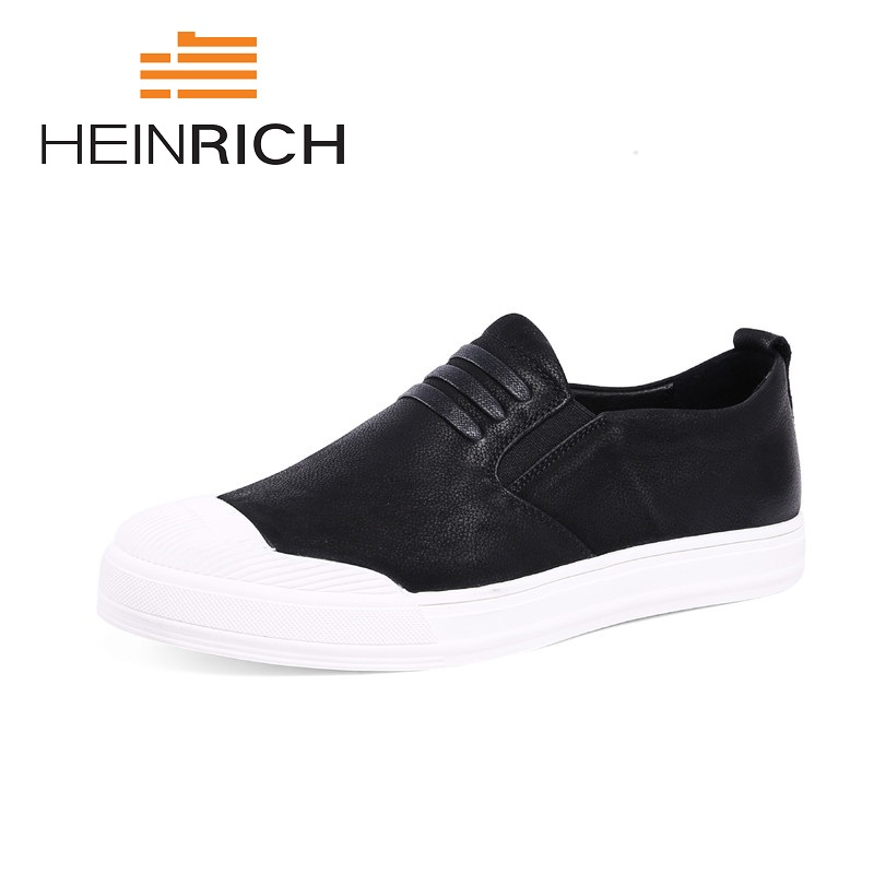 HEINRICH High Quality Genuine Leather Men Loafers Slip-On Casual Shoes Man Luxury Brand Male Flats Footwear Erkek Ayakkabi Deri vesonal 2017 brand casual male shoes adult men crocodile grain genuine leather spring autumn fashion luxury quality footwear man