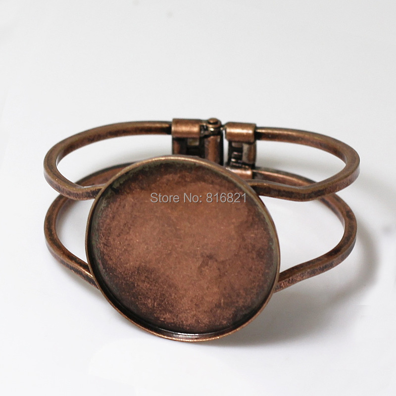 Blank Cuff Bangle <font><b>Bases</b></font> with Strong <font><b>Round</b></font> Bezel tray Spring Bracelet Bangle Settings Findings Antique Copper tone Plated Brass image