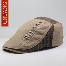 CNTANG Casual de malla de los hombres del verano boina sombrero plano moda  Vintage algodón carta plana boinas respirable visera . 7baefeb0cff