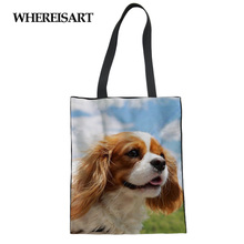 WHEREISART Female Tote Bag For Women Shopping Charles Spaniel Pet Print Handbag Girl Canvas Custom Man Travel Lady Kawaii Dogs