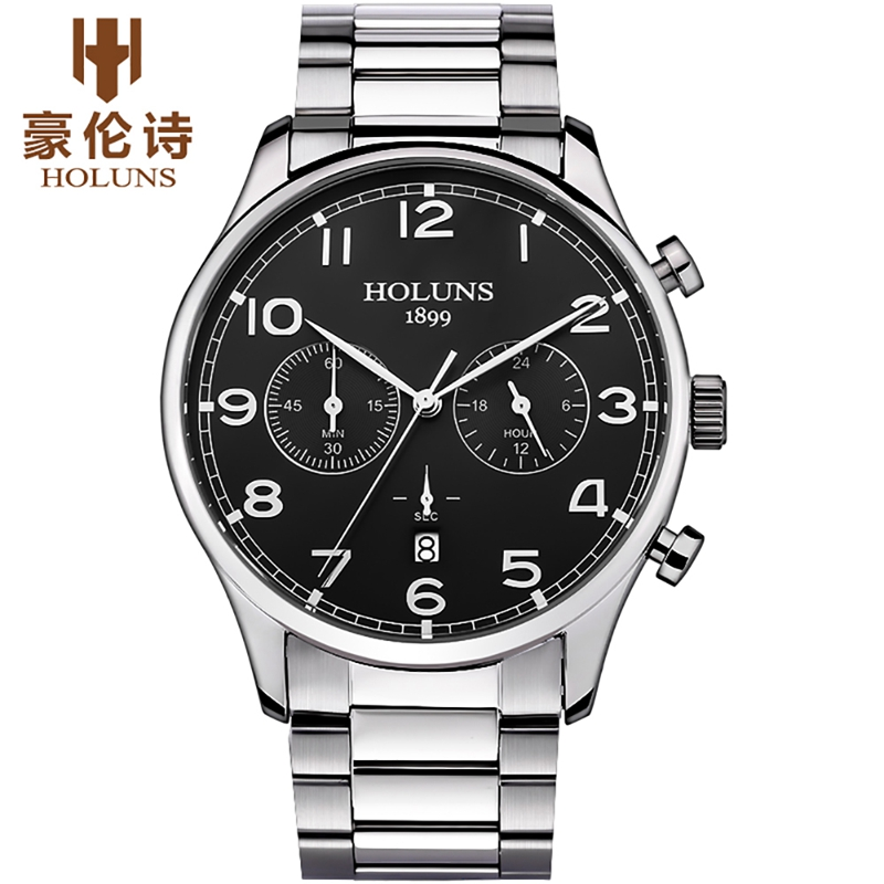 HOLUNS Top Luxury Brand Men Watch Chronograph Function Casual Man Watches Relogio Masculino Stainless Steel Band Calendar Watch стоимость