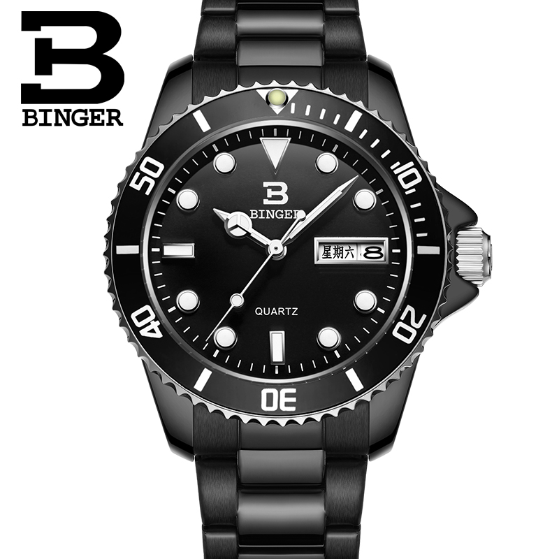 ФОТО 2016 BINGER Diving Series Sports Watches For Men Quartz Watch Luxury Brand Clock  Steel  Waterproof Wristwatch B-9203M