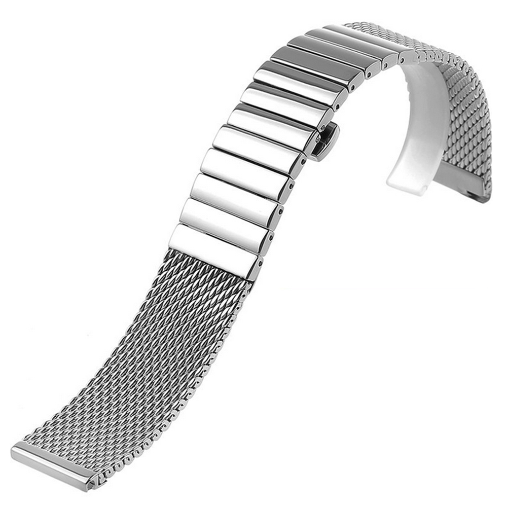 18632490793 18 20 22 24mm Silver Stainless Steel Wrist Watch Band Push Button Hidden  Clasp Mesh Strap Men Women Watches Replacement Bracelet