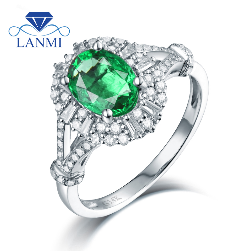 Newest Emerald Diamond Engagement Ring Dual Purpose Oval Colombia Gem In Solid14K White Gold Shinning Diamond For Women