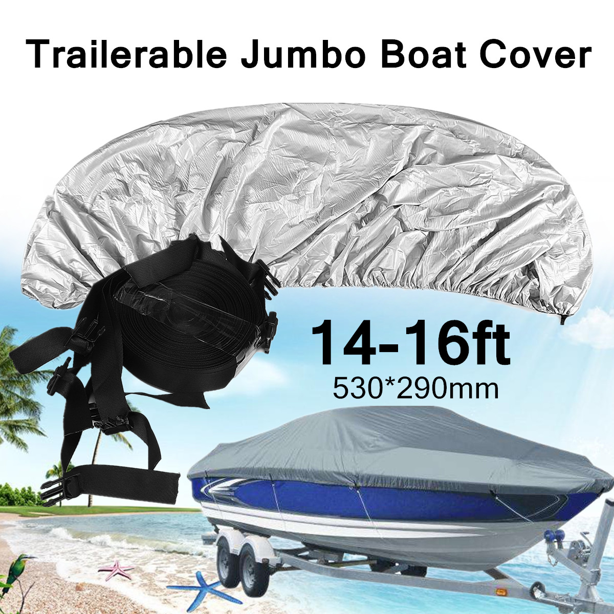 14-16ft 420D Trailerable Jumbo Boat Speedboat Cover Waterproof V-Hull 530*290mm Silver Grey UV Protected Double Needle Seams heavy duty 14 16ft 600d beam 90inch trailerable marine grade boat cover outdoor yacht boat suit waterproof uv protected black
