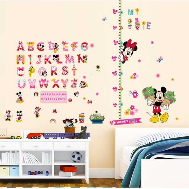 Cartoon Minnie Mickey Mouse Alphabet Wall Stickers Nursery Kids Living Rooms Bedroom Home Decor Pvc