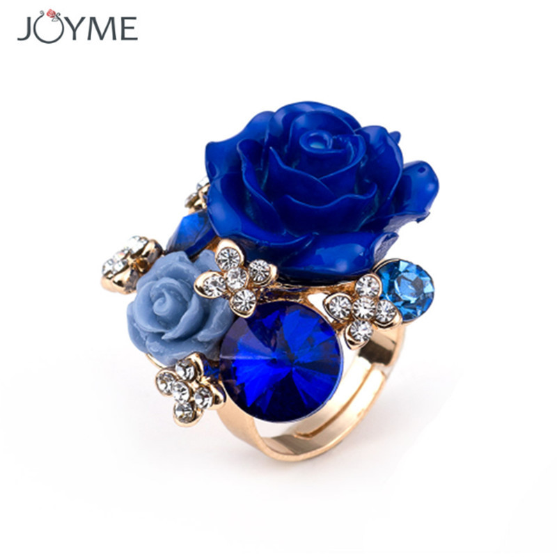 Newest Original High Quality Hot Sale Blooming Enamel Roses Flower Finger Rings Bridal Engagement Ring For Women Jewelry Gift