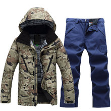 New Brand Men Ski Suit Water Windproof Ski Jacket+Pants Warm Ski coat Thicken Clothes Pants Set Solid Men Snowboard Jacket