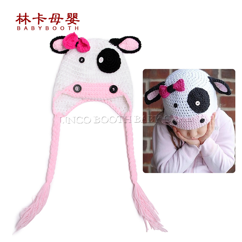2016 Cute Baby Boy Girl Knitted Hat Cow Style Infant Costume Crochet Photo Props 0-12 Month Newborn Photography Baby Hats Caps ...