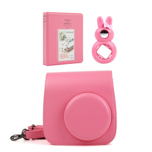 Image 3 - 5 Colors Quality PU Leather Camera Case + Photo Album + Rabbit Selfie Lens for Fujifilm Instax Mini 9/Mini 8 Instant Film Camera
