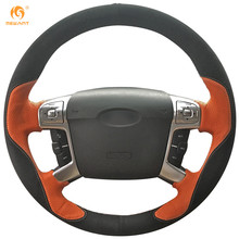 MEWANT Orange Leather Black Suede Car Steering Wheel Cover for Ford Mondeo Mk4 2007-2012 S-Max 2008