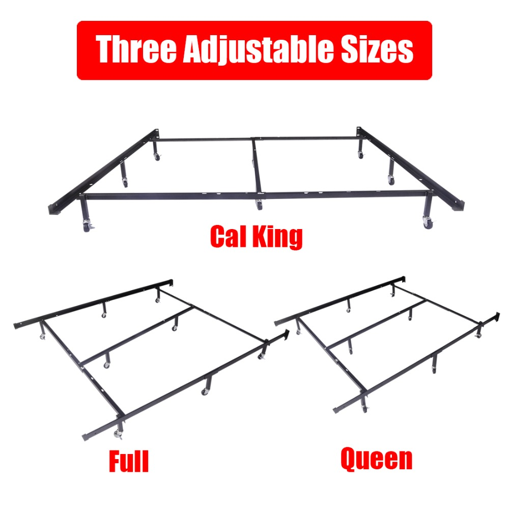 aliexpresscom buy hlc full queen cal king adjustable 8 wheel metal bed framemattress foundation with 4 locking wheels best xmas gift from reliable bed - Cal King Metal Bed Frame