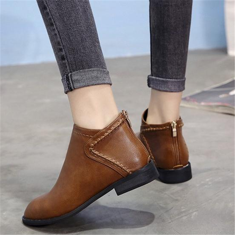 Image 4 - Spring and autumn ladies Martin boots British style low heel and ankle boots 2018 new retro Korean short bootsAnkle Boots   -