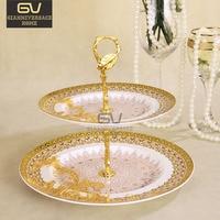 Bone China Double Decker Plates Jane European Style Cake Fruit Snack Plate Afternoon Tea Ceramic Tray Tableware Decoration
