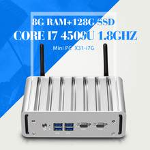 Мини-ПК Windows Embedded Core I7 4500U Рабочего Портативный Компьютер С 2 * LAN 2 * COM 8 Г RAM 128 Г SSD