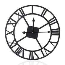 2017 European Style Indoor Wall Clock Vintage Wrought iron Clock With Roman Numerals Rounded Innovative Fashion