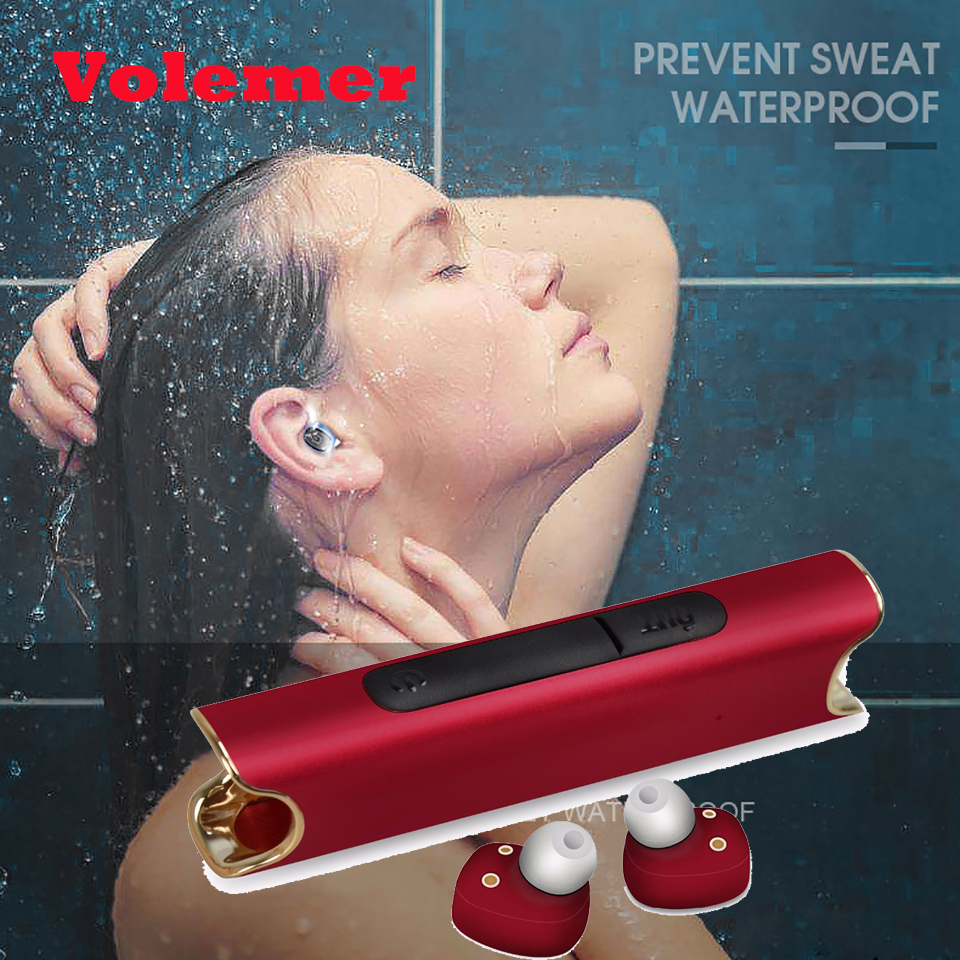 Volemer Wireless Bluetooth Twins Earphone TWS Waterproof IPX7 Stereo Bass Headset Noise Cancel Headphone With 850mA Charging Box x1t x2t twins true wireless tws mini headset bluetooth earphone csr4 2 headphone with magnetic charging dock for ios android