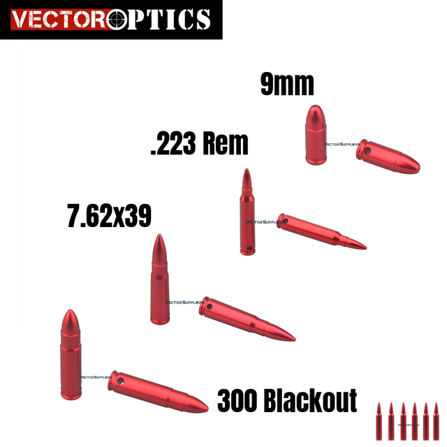 Vector Optics Metal Snap Caps for 223 Remington , 7.62x39mm , 300 Blackout , 9mm , Rifle Pistol Calibers Safty Traning Round