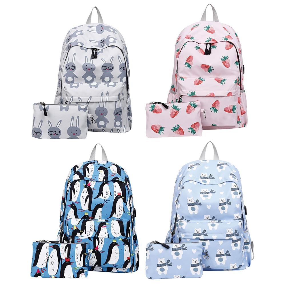 Korean Style Simple Print Travel Backpack Large Capacity Student Storage School Bag Backpack With USB For Women Schoolbags Bags