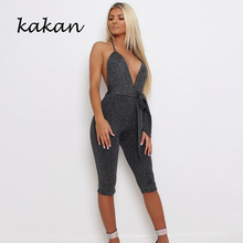 Kakan 2019 summer new womens body tights deep V-neck straps hanging neck bright silk bodysuit
