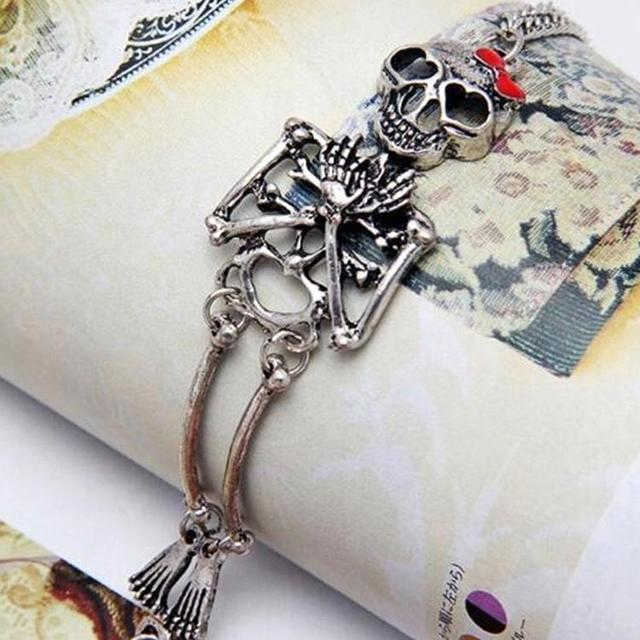 Charming Jewelry Vintage Hot Rock Gothic Style Double Skeleton Skull Bangle Bracelet Gold Silver color can dropshiping