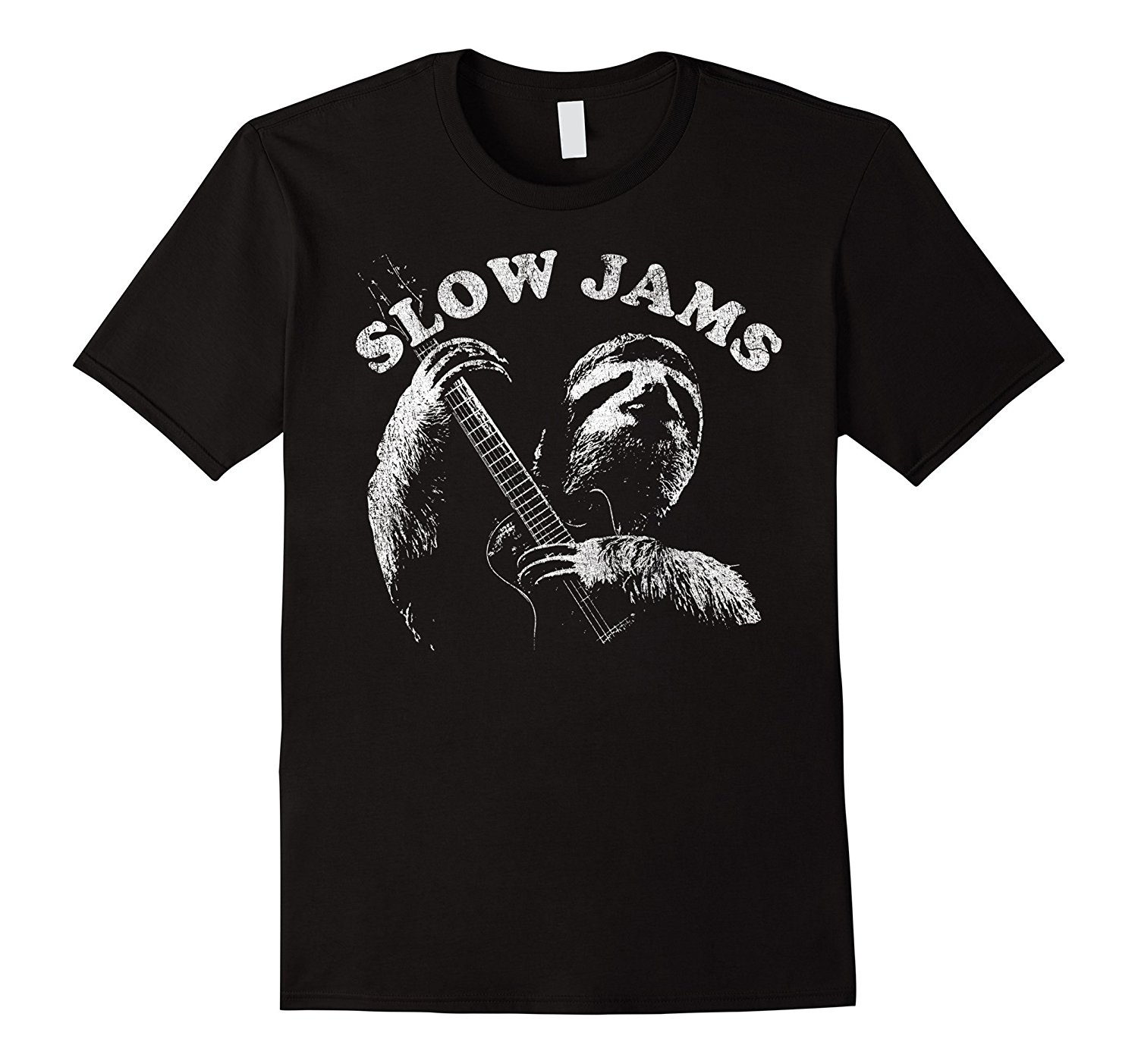 Collection Here Sloth Playing Guitar Slow Jams Vintage Graphic T-shirt Summer Style Mens T-shirt Shirt Cotton Hight Quality Man T Shirt Online Discount