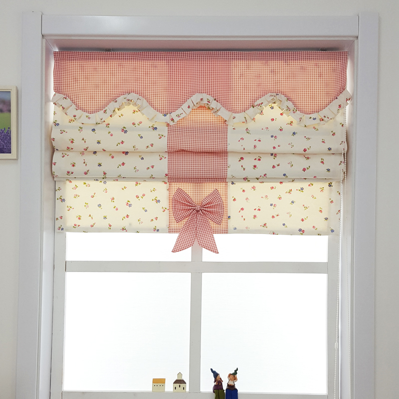 Roman Curtains Down Curtains American Small Floral Lattice Pastures Chinese  Style Window Curtains(China (