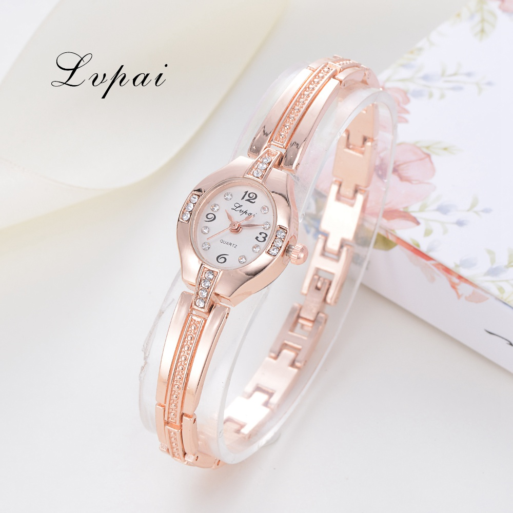 Lvpai Brand 2017 Fashion Luxury Quartz Watches Women Rhinestones Casual Simple Oval Wristwatches Dress Female Gift Clock LP172