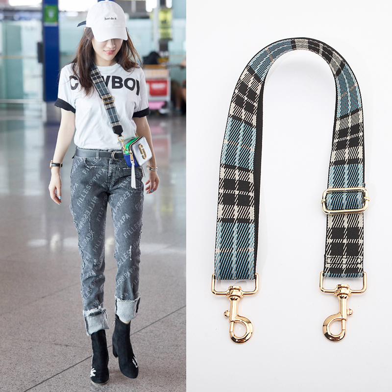 Thicken with canvas backpack shoulder belt and bag accessories one shoulder inclined shoulder bag, plaid widened bag belt