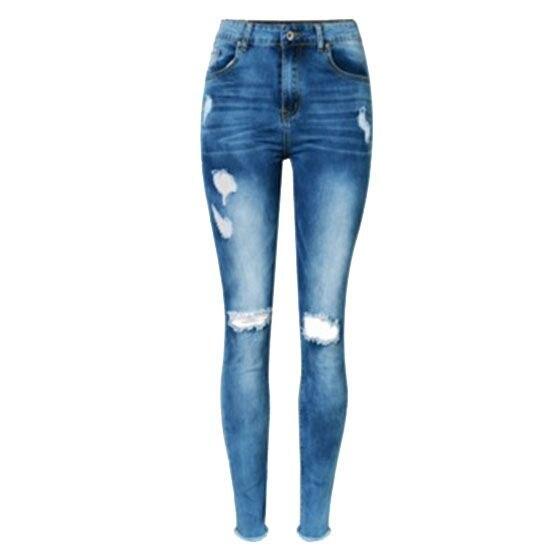 New High Waist Hole Jeans Ladies Scratch Belt Skinny Jeans Women High Heel Bleach Fashion Denim Jeans Pants