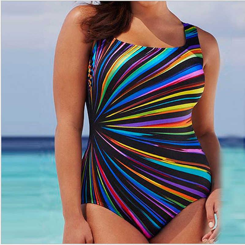Yeni artı boyutu 5XL kadınlar renkli Beachwear mayo tek parça kadınlar seksi Backless mayo kadınlar yaz plaj kıyafeti