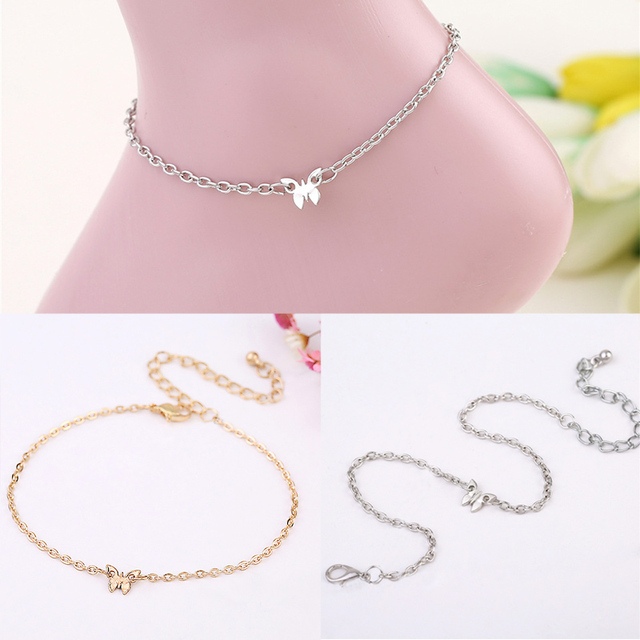 LNRRABC 1PC Cute Elegant Butterfly Golden Silvery Alloy Chain Anklets Beach  Accessories Fashion Jewelry 58722f119c26