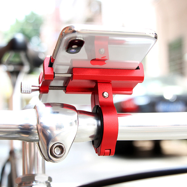 Aluminum Alloy Bicycle Phone Holder Motorcycle Handlebar Mount for 3.5-6.2″ Smart Phone for iPhone Xs Max Xr X 8 Samsung Xiaomi