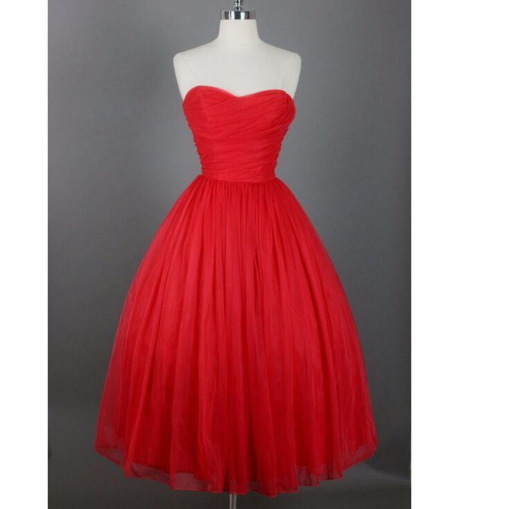 242a2b414c0 Red Short Summer Prom Dresses Sweetheart Tulle Vestidos De Fiesta 2015 Tea  Length Simple Girl Party Dress Custom Made