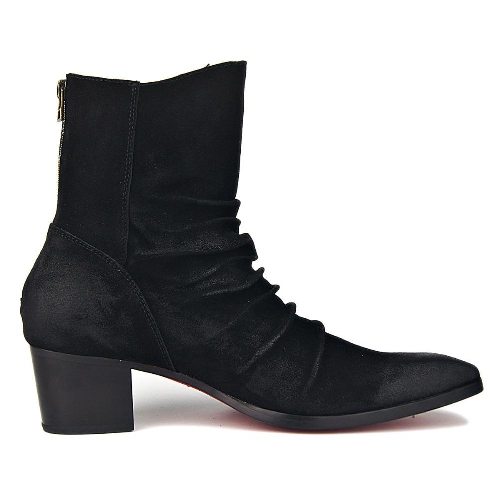Hombres Zapatos Falda Cremallera Estilo Los Moda Vaca De Alto Tacón Británica Cuero Botas Del Fondo Genuino Rojo Chelsea T5ZqxzWwB