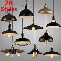 28 Styles Loft Vintage Pendant Light Nordic Industrial Metal Bronze Black Lamp Retro LED Hanging Lights