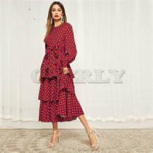 CUERLY Polka Dot Self Belted Layered Hem Dress Women 2019 Elegant Bishop Sleeve Dresses Fit and Flare Layered Maxi Dress