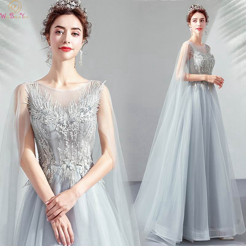 2019 New Fashionable Appliques   Prom     Dresses   Gray A Line Elegant Princess Lace Up Formal Evening Gowns With Long Sleeve Shawls