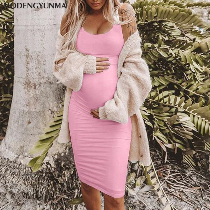 Womens Pregnants O Neck Sleeveless Nursing Maternity Solid Color Breastfeeding Dress Casual Loose Nursing Midi Dress Pregnant