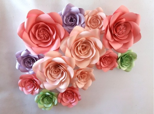 13 Unids Piezas De Colores Mezclados Flores De Papel Gigante Para La