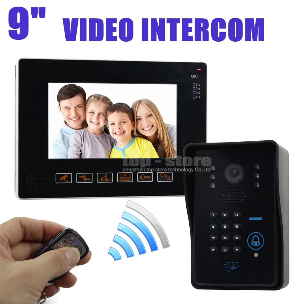 DIYSEUCR 9 inch Video Door Phone Door Bell Intercom System IR Night Vision Camera With Keypad Remote Control CCTV Camera 100 85cm wre 230 e type fabricated thermocouple industrial temperature sensor with screw