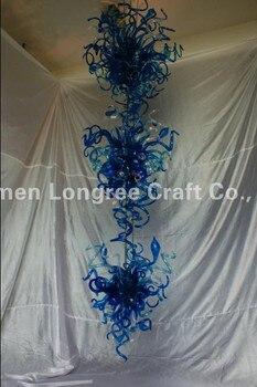 люстры из муранского стекла | Фантастическая синяя и Аква длинная боросиликатная стеклянная люстра освещение-48