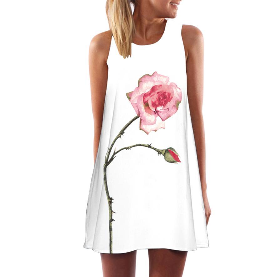 2018 Creative Boho Retro Summer Dress Floral Print Vintage Flower Character Beach Dress Women Clothing Vestidos Dresse clothing