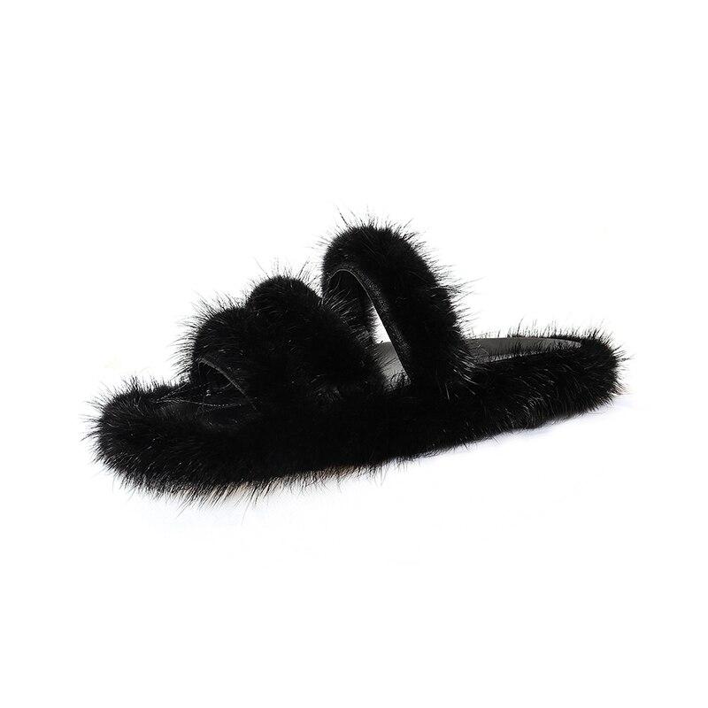 Новый Для женщин Тапочки из натурального кроличьего меха черный/коричневый шлепанцы слайды